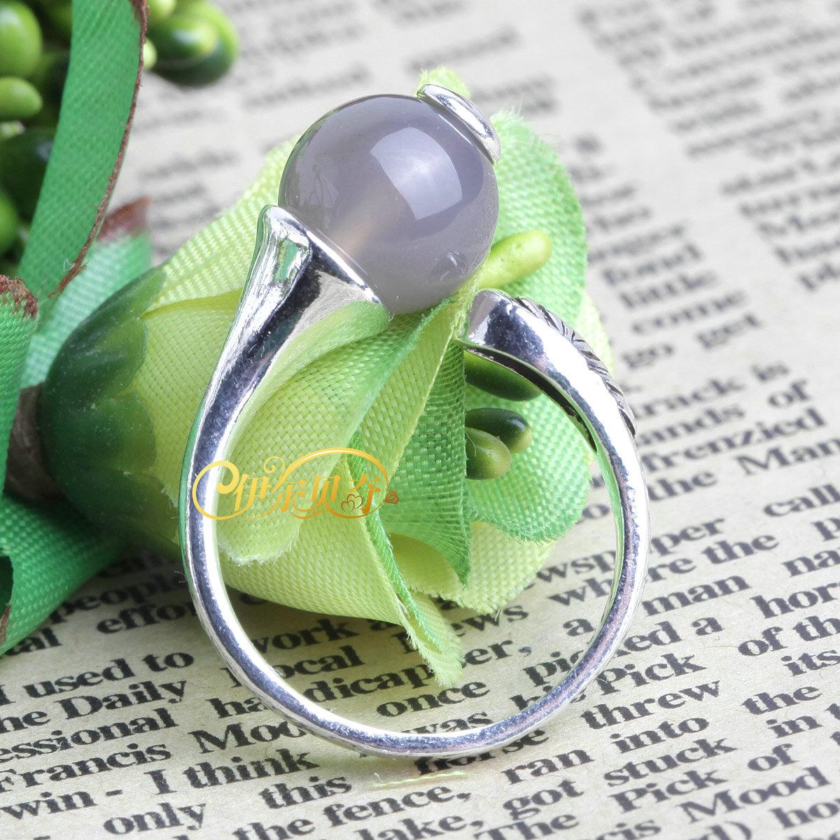 珍贵稀有灰色玛瑙纯银雕花上开口个性复古戒指 添寿 开运 消灾