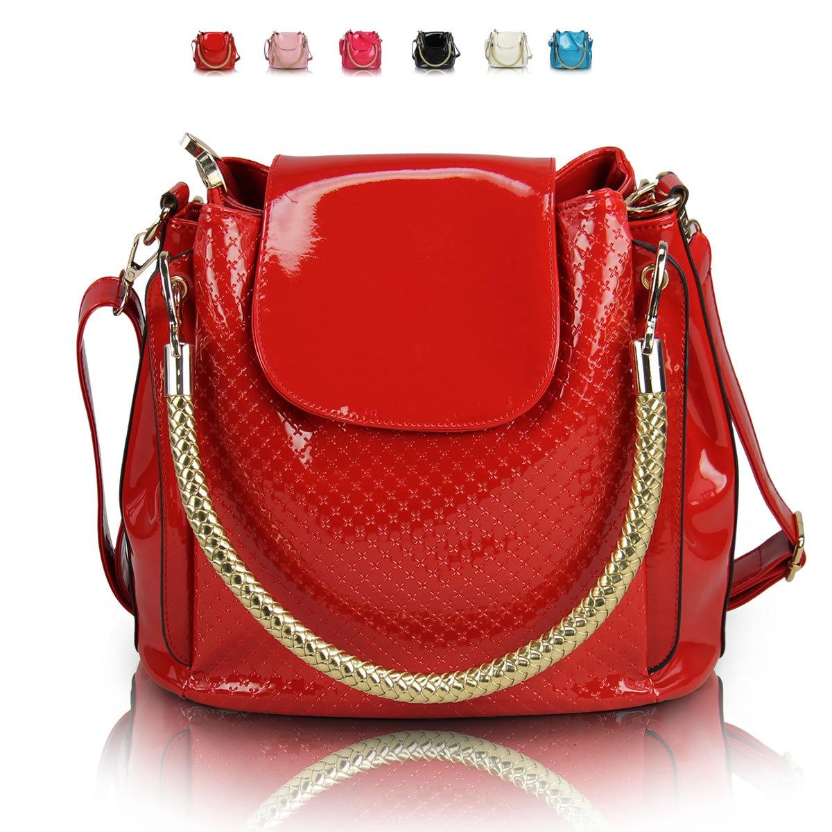 红色漆皮新娘结婚女包包2013新款女士手提水桶PU亮皮压花链条两用