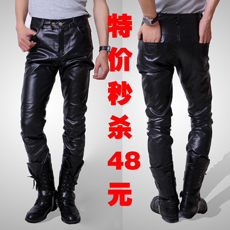 2013 spring men's leather pants Korean slim feet PU trend of tight pants, the Club cab air tights