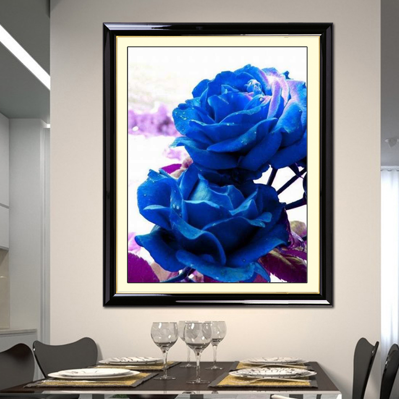 Precision printed cross stitch for post Yao Ji new living room series blue bedroom Blue rose flower drawing