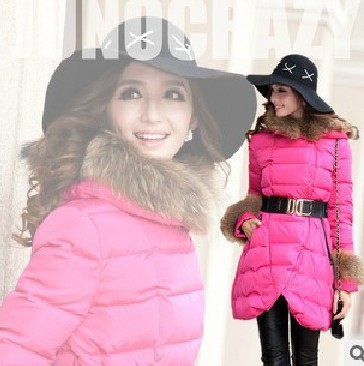 Женский пуховик 2013 Новые вниз пальто длиной ультра большие шеи юбка в элитных вниз куртка