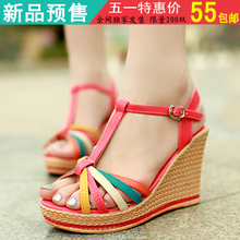 Soled sandals 2013 summer new Korean thick with Miss Gao Gen wedge sandals Roman fish head shoes