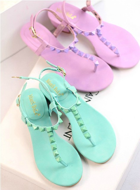 Special! Korean version of casual sandals sweet wild rivet shoes sandals flip side with T-Mo white women