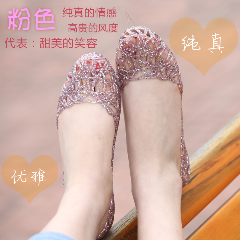 Ventilation holes plastic jelly shoes and summer flowers in summer leisure flat netlike hollow nest flat female sandals