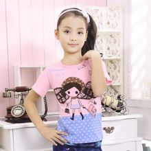 Children's clothing girls summer 2013 children's short-sleeved t-shirt girls big boy cotton t-shirt Korean
