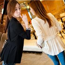 2013春装新款韩版修身小西装女外套雪纺拼接西服春秋女装批发