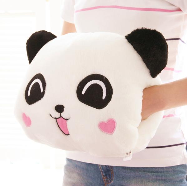 新款可爱表情小熊猫手捂暖手抱枕靠垫毛绒玩具冬季保暖礼物 包邮图片