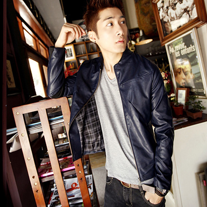 Man's leather 2013 spring new styles imitating parchment Korean tide men's casual jackets promoted men's PU leather jacket