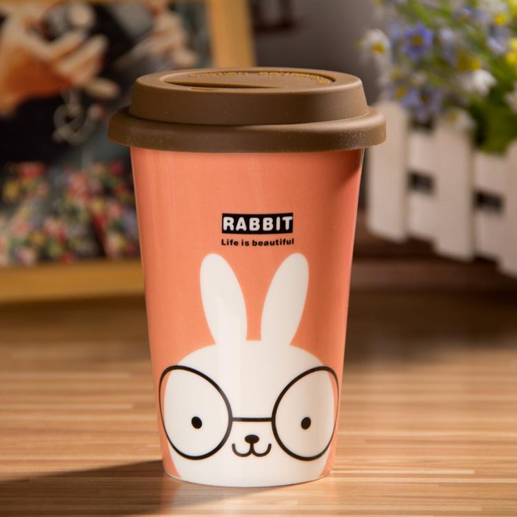 动物星巴克咖啡可爱卡通情侣对杯 带盖陶瓷创意水杯子马克杯包邮