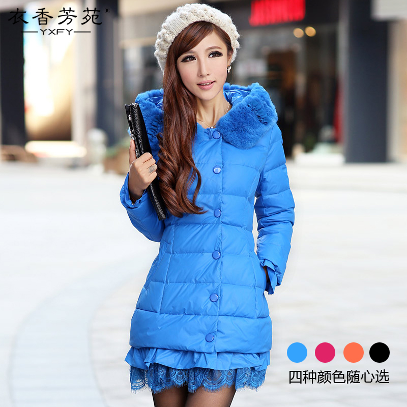 2012 new style winter wear lace in Korean hooded rabbit fur long slim down jacket