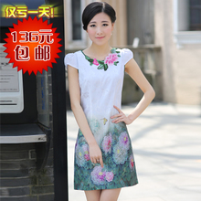 Opera Peony 2013 summer new short cheongsam improved fashion ladies vintage dress embroidered Slim