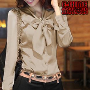 [两件包邮]2013秋装新款韩版大码女装 蝴蝶结长袖白衬衣职业修身上衣