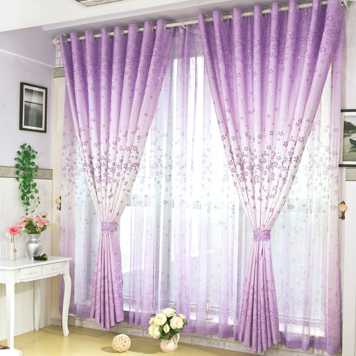 Purple Ke [sunny holiday] modern pastoral finished fabric curtains bedroom living room curtain cloth brigor