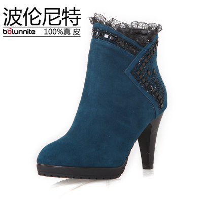 Pollan nita, European and American fashion of new fund of 2013 autumn winters is tall with short tube side zippers lace diamond bead short boots