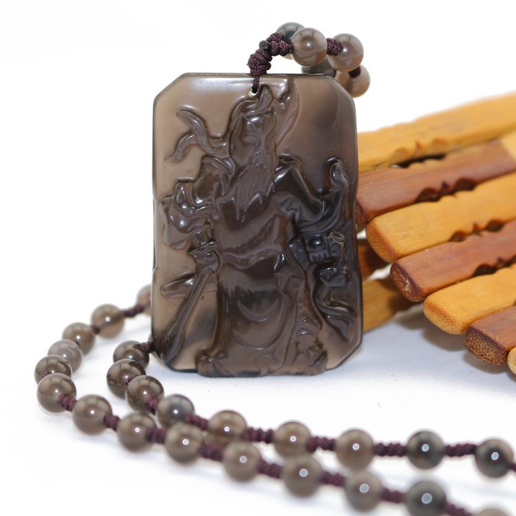 Подвеска Электронной почте природные обсидиана медальон аутентичные кунг Кулон мужчин Цай Шэнь Гуань Эри в пользу помочь транспорт зла кристалла ожерелье