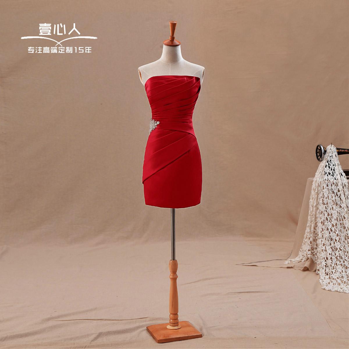 婚纱礼服2013最新款结婚季 韩版新娘结婚抹胸伴娘服敬酒服短款小礼服