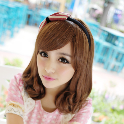 Pear head wig female short hair wigs short hair wig cute fluffy girls oblique bangs slightly curled short wig
