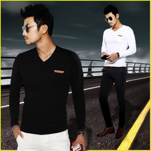 Influx of Korean men's long-sleeved t shirts men v neck shirt men's men's clothes on thin little shirt men by the end of autumn