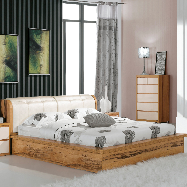 加米家居 1.8米双人床现代简约大床木床板式床时尚休闲床家具特价
