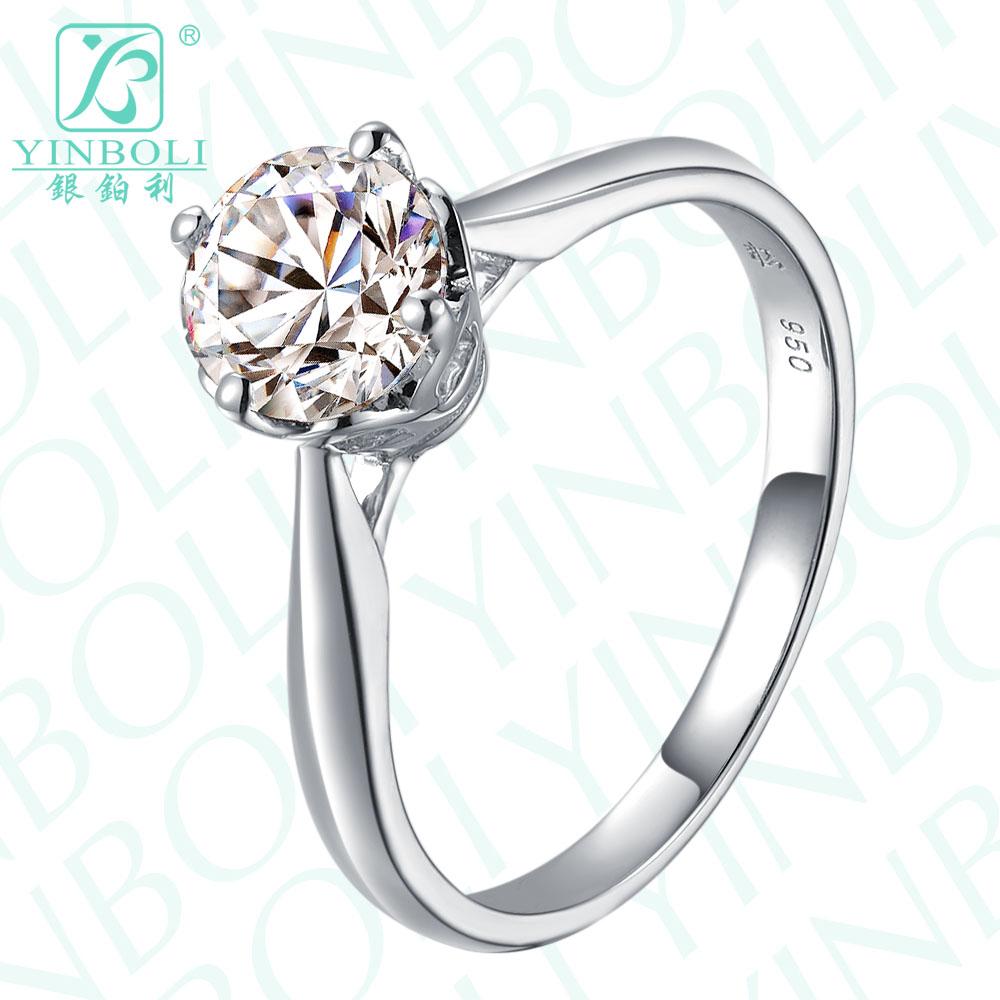 950纯银结婚戒指环 时尚爆闪一克拉梅花钻 八心八箭四爪皇冠镶工