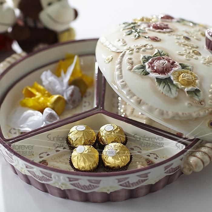 中式婚庆用品婚礼结婚糖果盒浮雕玫瑰喜糖盒创意什锦干果乔迁礼物