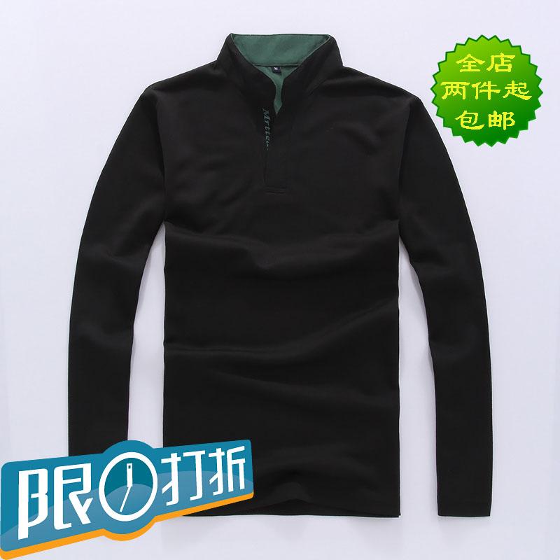 Рубашка поло Новый список Осень 2013 мужчины сплошной цвет длинный рукав рубашки рубашки поло с длинным рукавом t