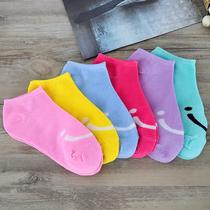 船袜女士5双装糖果色可爱笑脸纯色女式棉质短袜多色短筒袜子