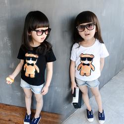 童装2016夏季女童韩版宝宝纯棉短袖T恤儿童卡通小熊打底衫亲子装