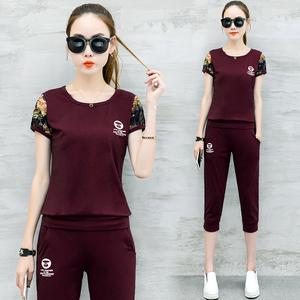 休闲运动套装女夏2018新款韩版跑步服大码女装短袖七分裤两件套春
