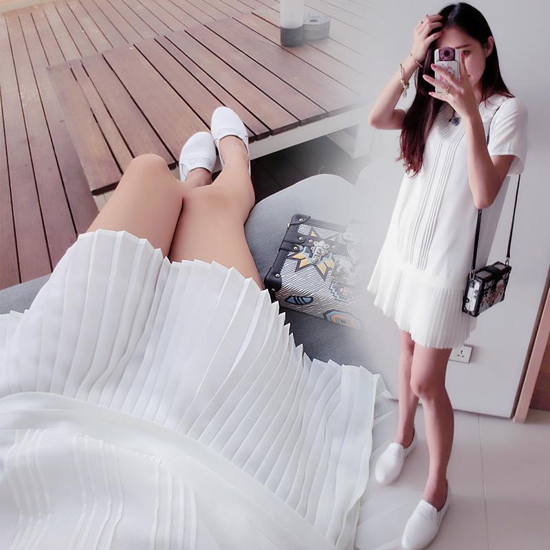 柒柒家2016夏季新款韩版女裙子宽松大码甜美百褶短袖雪纺连衣裙潮
