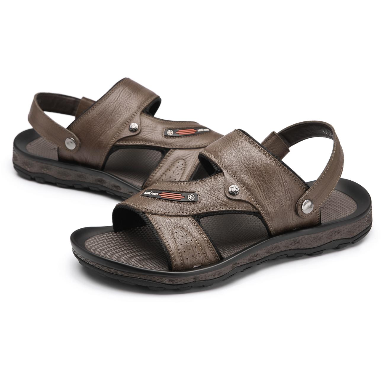 Сандали Aokang 123211062 063 065 Открытый носок Без застежки Кожа быка Лето Пляжная обувь