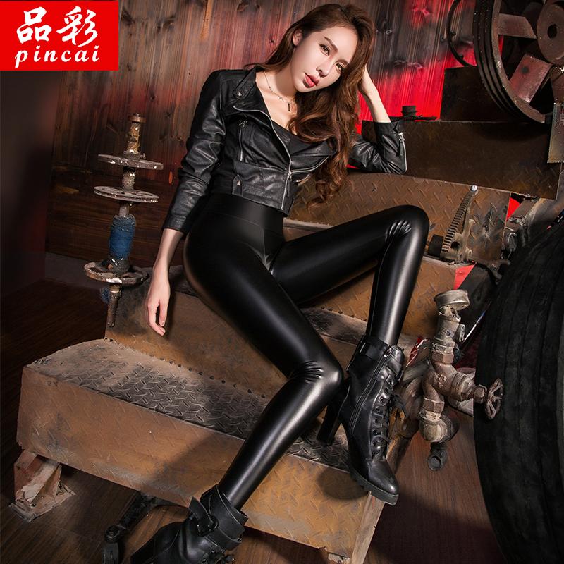 秋冬皮裤女加绒加厚打底裤黑色外穿高腰紧身长裤显瘦小脚女裤大码