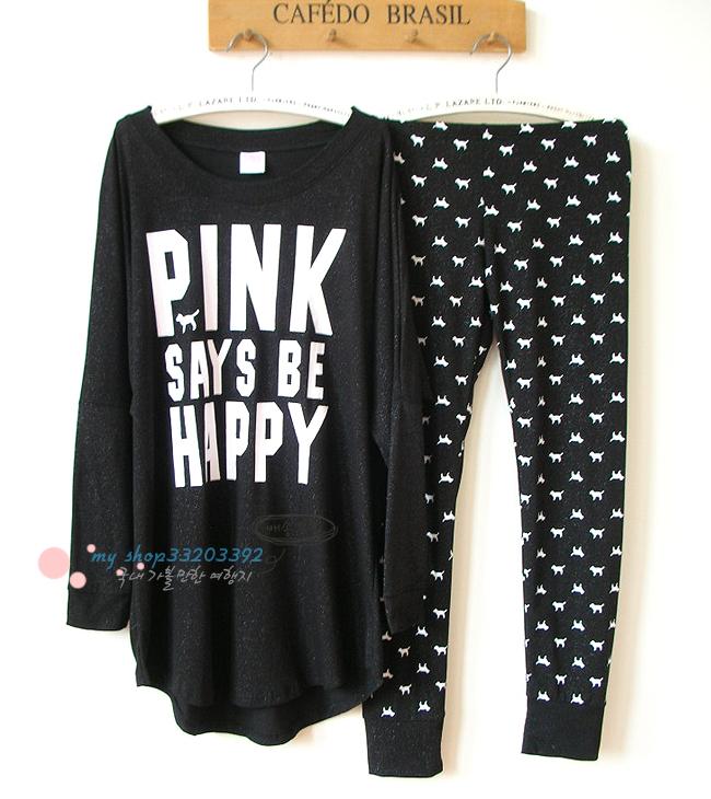 Пижама Powder Ai Pink Хлопковый трикотаж Надпись Свитер Девушки