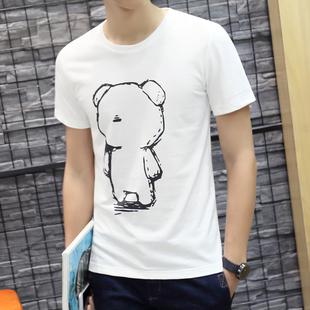 夏季男装青少年短袖t恤白色修身韩版圆领纯棉上衣服半袖男夏潮流