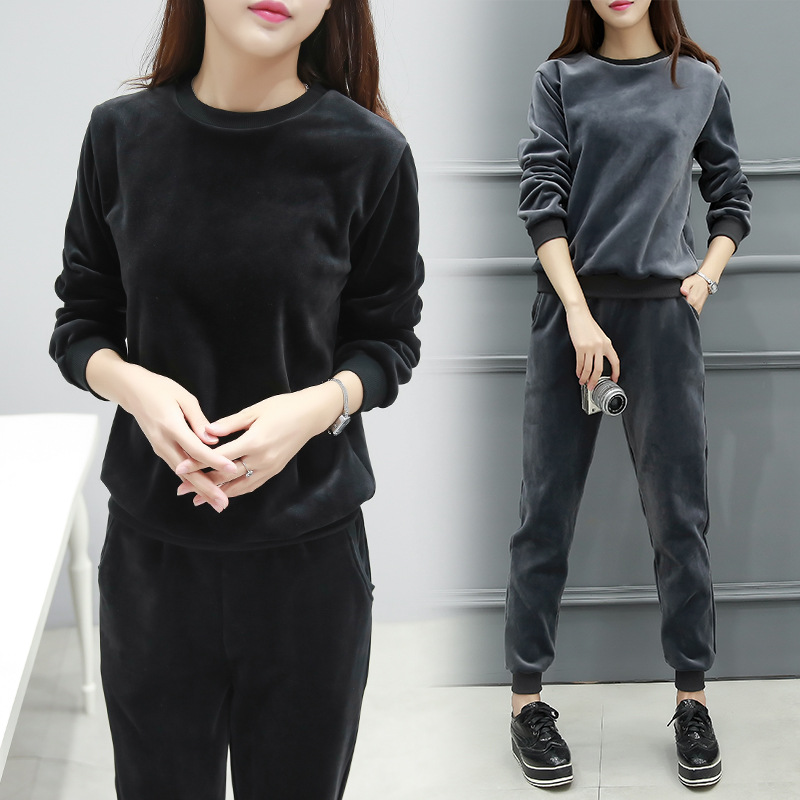 潮小香风秋冬韩版新款运动套装女长袖休闲舒适绒面上衣裤子两件套