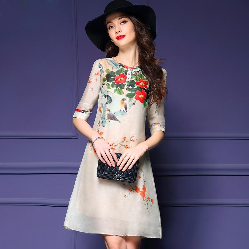 【天天特价】2016夏装新款高端桑蚕丝亚麻连衣裙a字裙印花真丝裙
