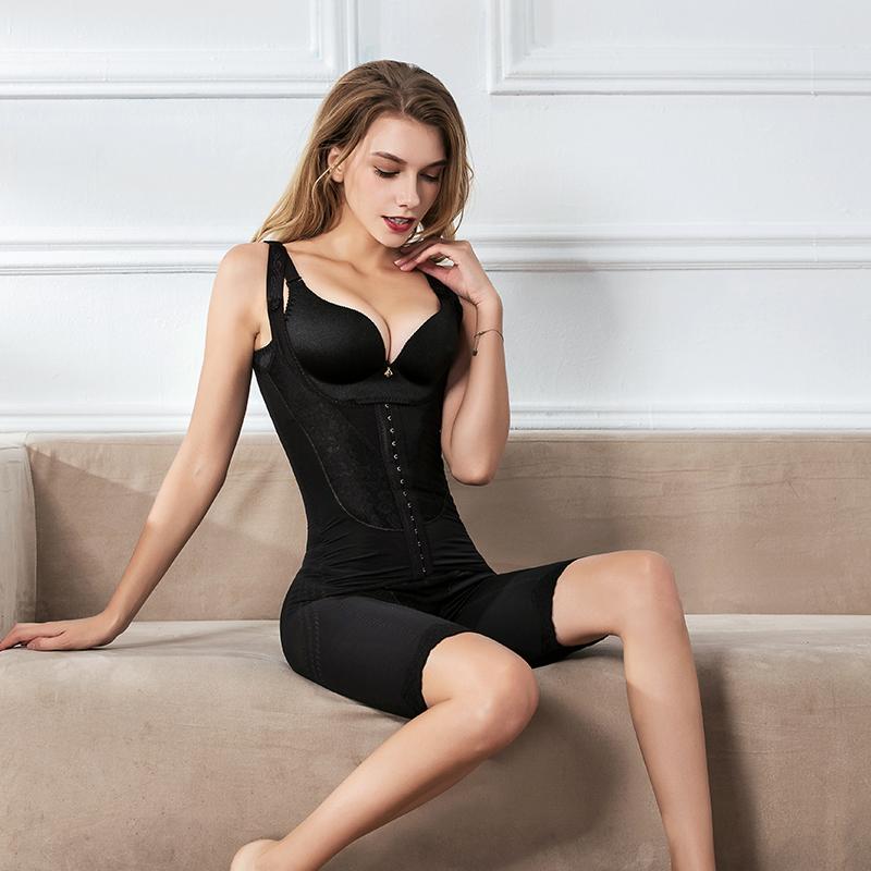 连体塑身衣上衣排扣磁疗产后收腹提臀束腰瘦身四角秋冬美体衣加强