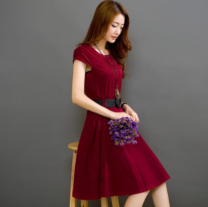 夏装裙子2016新款夏天短袖大码修身显瘦中长款棉麻连衣裙女亚麻裙
