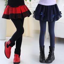 女童打底裤加绒加厚2016儿童裤裙假两件秋冬装新款女孩外穿长裤子