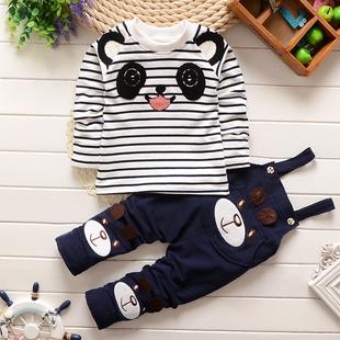 童装男童春装2017新款1-4岁儿童背带裤套装婴儿女童宝宝纯棉衣服