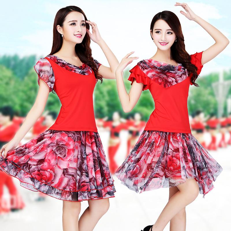 广场舞服装新款套装短袖舞蹈服两件套跳舞服装女成人表演服舞衣