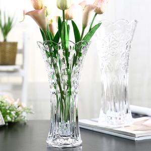 欧式大号玻璃透明花瓶客厅摆件插花水培富贵竹百合干花落地饰品