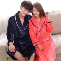 2016韩版加厚法兰绒情侣睡袍浴袍秋冬季珊瑚绒睡衣长袖男女士浴衣
