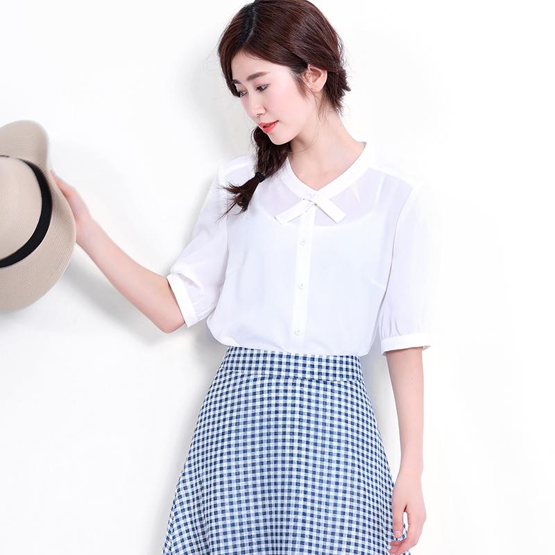 宿本夏装新款领口交叉设计文艺立领短袖雪纺衬衫白色百搭休闲衬衣