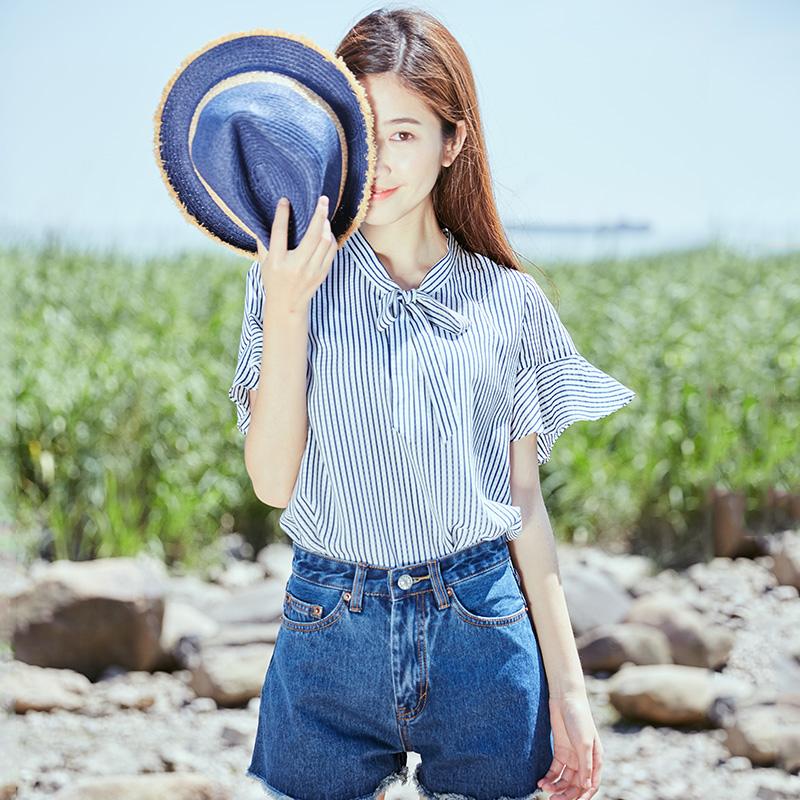 宿本夏装新款系带蝴蝶结喇叭袖条纹雪纺衫宽松显瘦短袖上衣T恤女