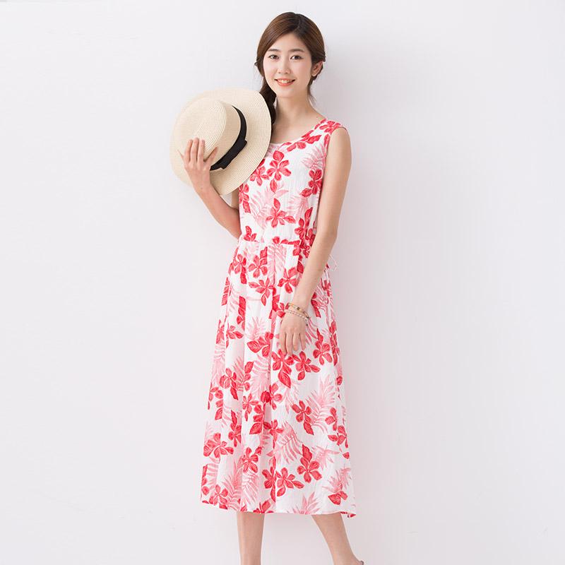 宿本夏装新款圆领无袖红色印花纯棉连衣裙系带收腰A字中长背心裙