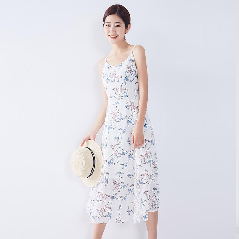 宿本夏装新款拼接蕾丝印花雪纺吊带裙连衣裙V领无袖高腰A字中长裙