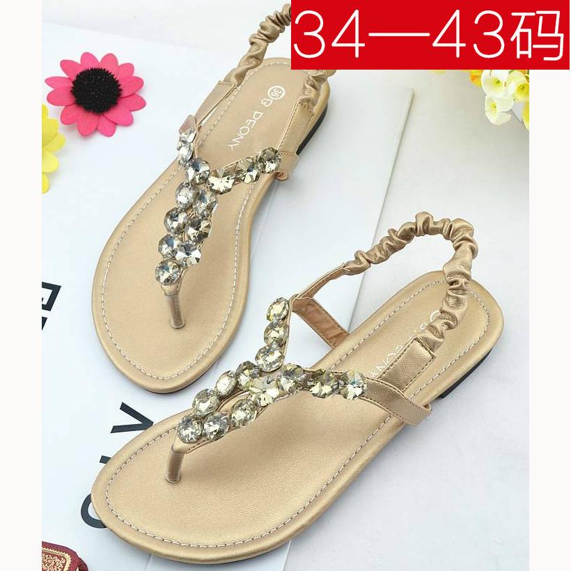 韩国新款大码凉鞋女夏41-43平跟学生百搭简约夹脚水钻平底沙滩鞋