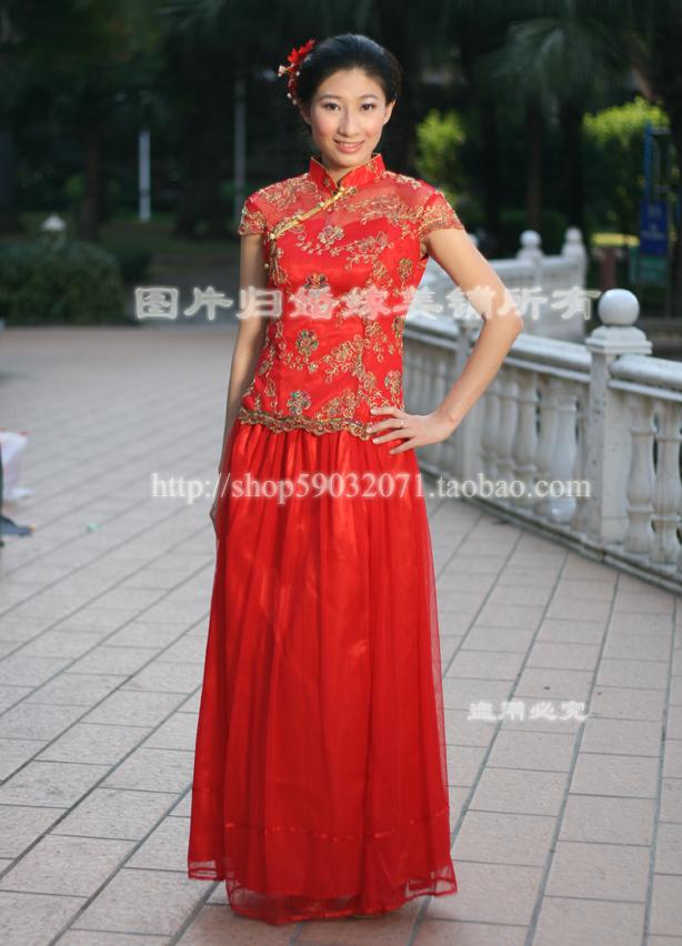 Платье Ципао 2012 новый стиль высококлассные большой красный невеста замуж два кусок Костюм вечерние платья аналогично носить в китайском стиле тост одежды
