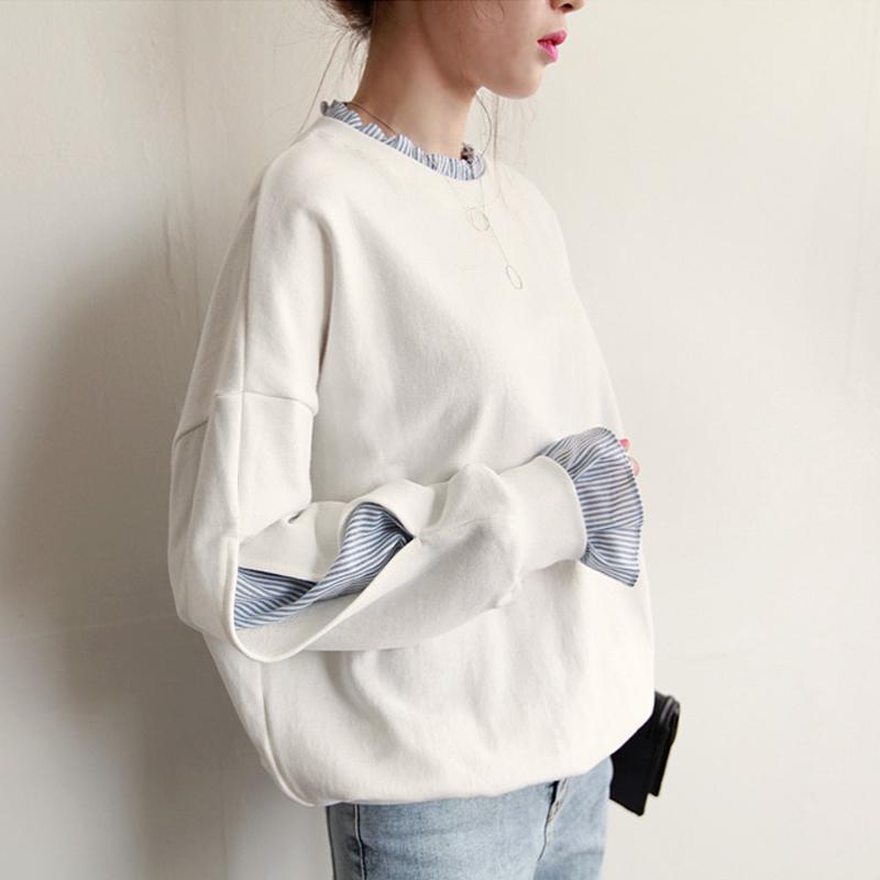 圆领白色卫衣女套头韩版潮学生宽松拼接假两件2017春秋季新款薄款